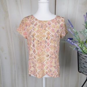 Fynn and Rose Pink Silk Patterned Blouse